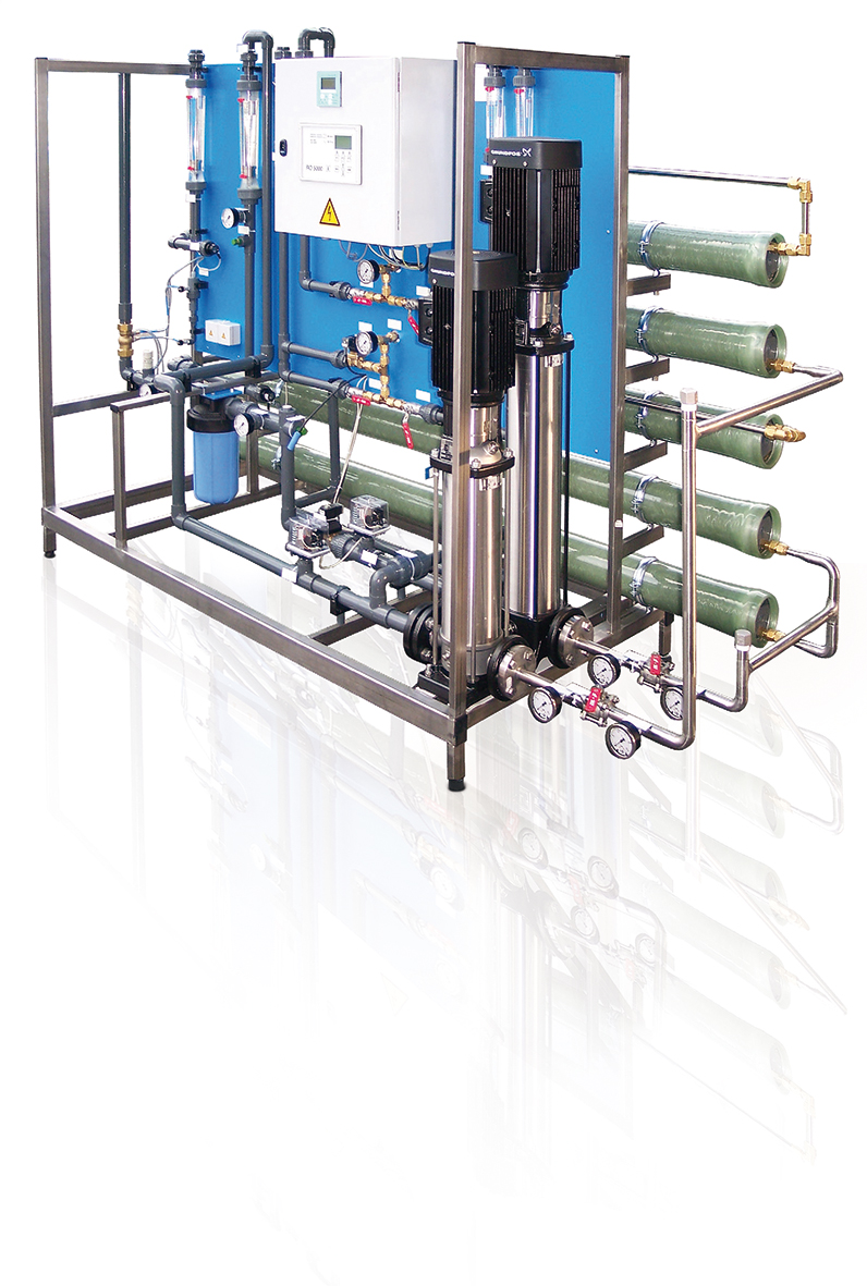 For desalination of softened drinking water according to German drinking water regulations. .With controller RO 5000 Permeate-staged RO System with 2nd permeate stage for treating the permeate of the first stage once again. Thereby a very high quality of permeate is achieved.